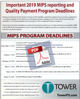 Medical Practice Management IMPORTANT 2019 MIPS REPORTING AND QUALITY PAYMENT PROGRAM DEADLINES